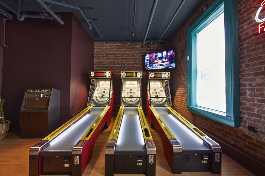 Photo of Skee-Ball lanes at Golden Gate Tap Room in San Francisco.