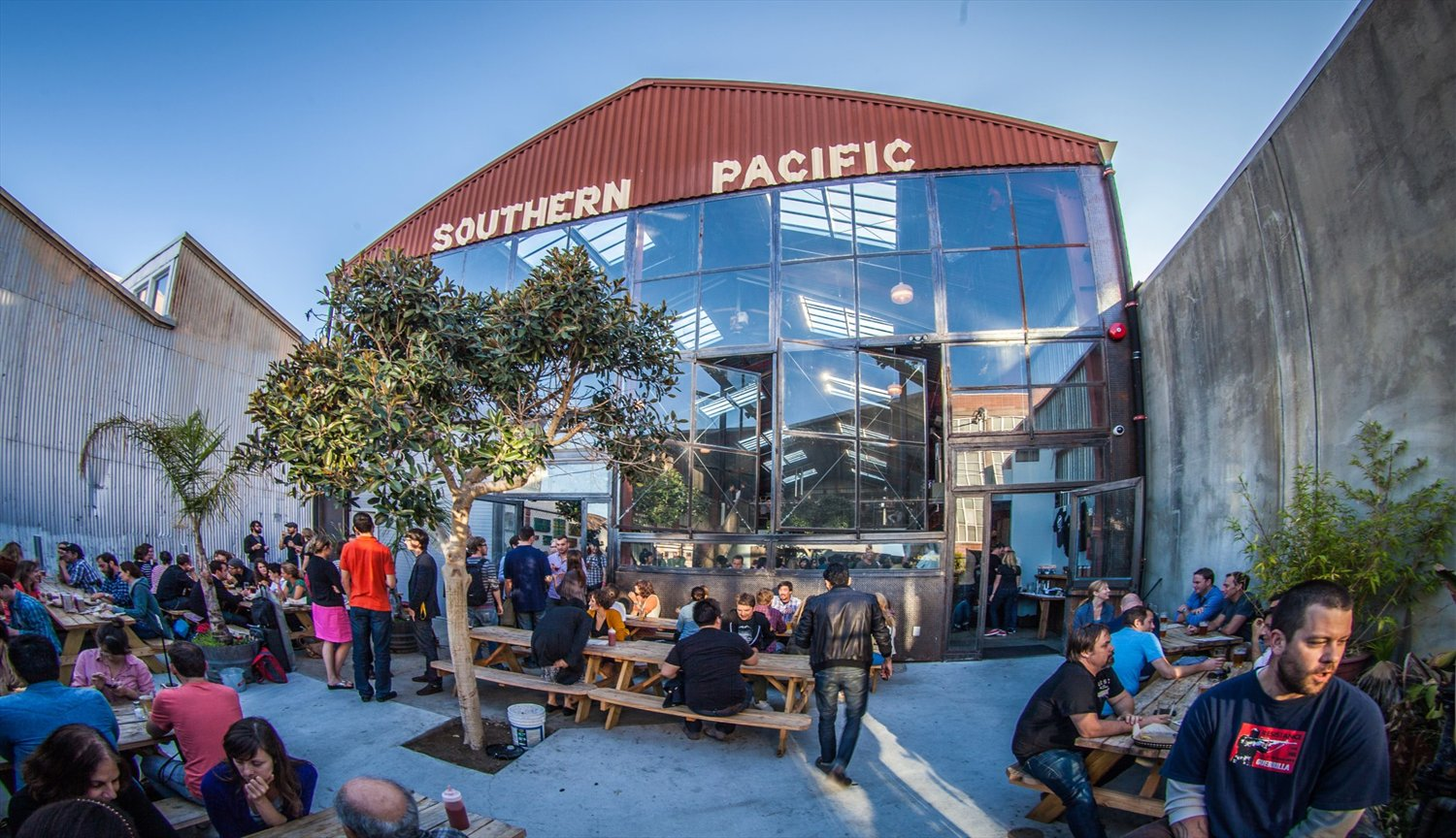 Photo of exterior of Southern Pacific Brewing in San Francisco